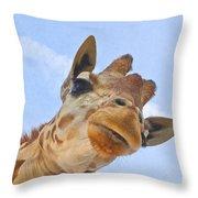 Sky High Giraffe Throw Pillow