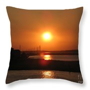 Sky On Fire Over Chincoteague Island Throw Pillow
