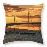 Skye Bridge Sunset Throw Pillow