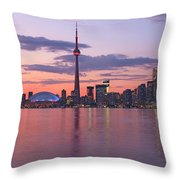 Skyline At Dusk From Centre Island Throw Pillow