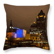 Skyline At The Milwaukee River Throw Pillow