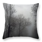 Skyline Drive In Fog Throw Pillow