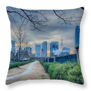 Skyline Of A Big City In South - Charlotte Nc Throw Pillow