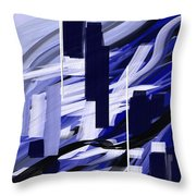 Skyline Reflection On Water Throw Pillow