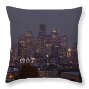 Skylines At Dusk, Seattle, King County Throw Pillow