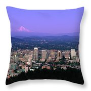 Skylines In A City With Mt Hood Throw Pillow