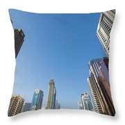 Skyscrapers Along Sheikh Zayed Road Throw Pillow