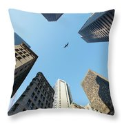 Skyscrapers In A City, Old State House Throw Pillow
