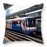 Skytrain Carriage Metro Railway At Nana Station Bangkok Thailand Throw Pillow