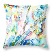 Slash Playing Live - Watercolor Portrait Throw Pillow