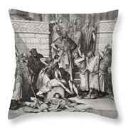 Slaughter Of The Sons Of Zedekiah Before Their Father Throw Pillow