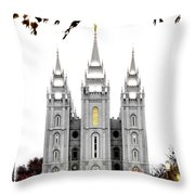 Slc White N Red Temple Throw Pillow