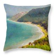 Sleeping Bear Dunes Lakeshore View Throw Pillow