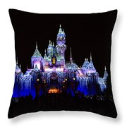 Sleeping Beauties Castle At Christmas Throw Pillow
