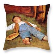 Sleeping Boy In The Hay Throw Pillow