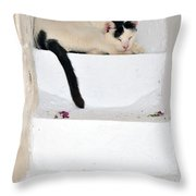 Sleeping Cat In Serifos Town Throw Pillow