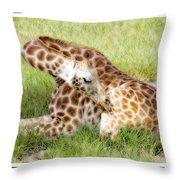 Sleeping Giraffe Throw Pillow