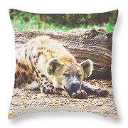 Sleeping Hyena Throw Pillow