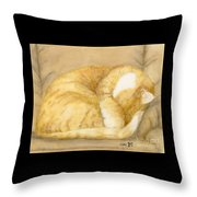 Sleeping Orange Tabby Cat Cathy Peek Animals Throw Pillow