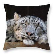 Sleeping Snow Leopard Throw Pillow