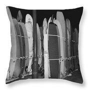 Sleeping Surfboards Throw Pillow