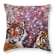 Sleeping Tigers Dream Such Sweet Dreams Kitties In Heaven Throw Pillow