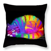 Sleepy Colorful Cat Throw Pillow
