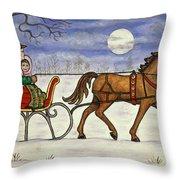 Sleigh Ride With Grandpa Throw Pillow
