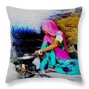Slice Of Life Mud Oven Chulha Tandoor Indian Village Rajasthani 2 Throw Pillow