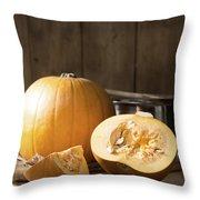 Slicing Pumpkins Throw Pillow