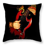 Red Gibson Guitar Throw Pillow