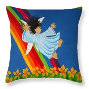 Sliding Down Rainbow Throw Pillow