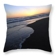 Sliding Down - Sunset Beach California Throw Pillow