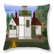 Slip Point Lighthouse Vintage Throw Pillow