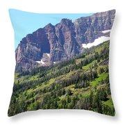 Sloping Mountain At Two Medicine Lake Throw Pillow by Carol Groenen