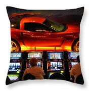 Slots Players In Vegas Throw Pillow
