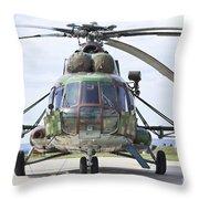 Slovakian Mi-17 With Digital Camouflage Throw Pillow
