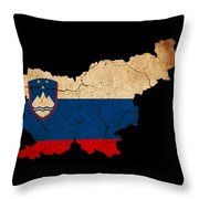 Slovenia Grunge Map Outline With Flag Throw Pillow