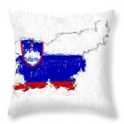 Slovenia Painted Flag Map Throw Pillow