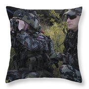 Slovenian Soldiers Watch For Simulated Throw Pillow