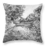 Slow River  Throw Pillow