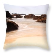 Slow Shutter Sea Around Rocks Throw Pillow