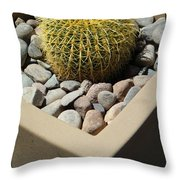 Small Barrel Cactus In Planter Throw Pillow