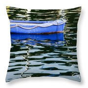 Small Blue Boat Throw Pillow