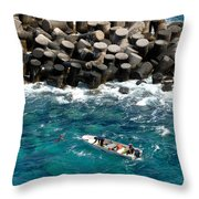 Small Boat Off Nassau Shore Throw Pillow