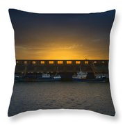 Small Boat Waiting In The Harbor Of Oostende Throw Pillow