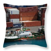 Small Boat With Cargo Containers Throw Pillow