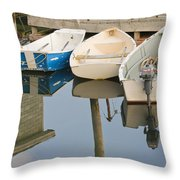 Small Boats And Dock In Port Clyde Maine Throw Pillow