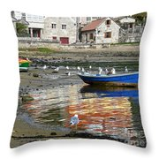 Small Boats And Seagulls In Galicia Throw Pillow