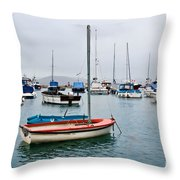 Small Boats At Lyme Regis Harbour Throw Pillow